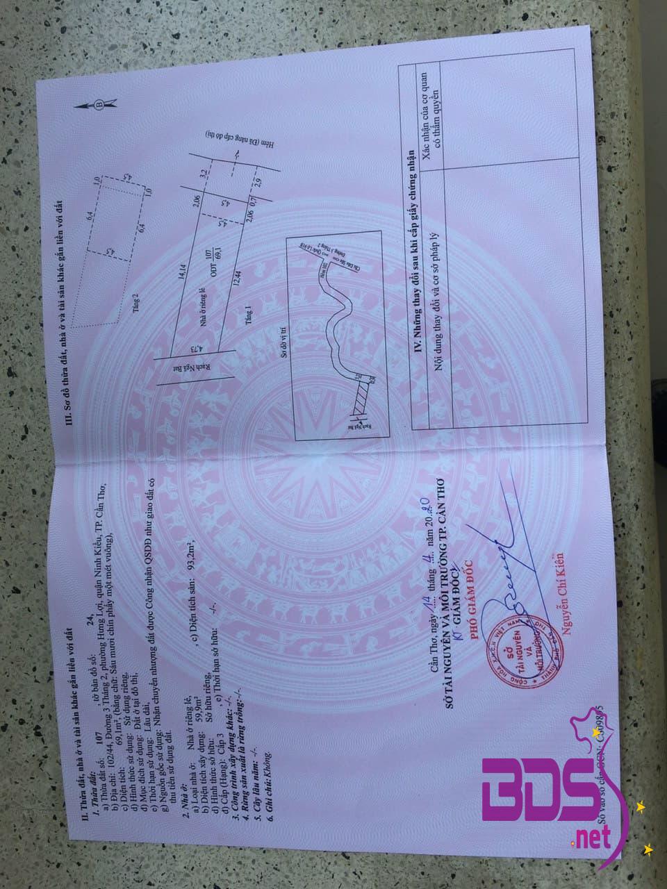 Bán nhà 1 trệt 1 lững hẽm 102 đường 3/2, Hưng Lợi, Ninh Kiều, CT-7